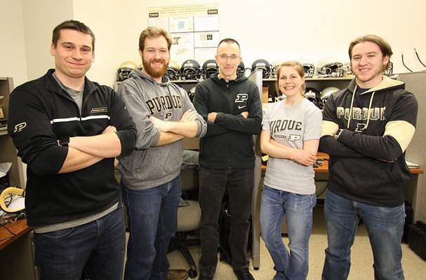 Courtesy Purdue University: Eric Nauman, professor of mechanical engineering at Purdue University, with a team of students who spent 30 hours designing an elbow brace for basketball center Isaac Haas. From left, students Michael Dziekan and Roy Lycke, Nauman and students Brie Lawson and Nathan Knodel. Not pictured -- students Kevin McIver, Nicolas Leiva and Taylor Lee.
