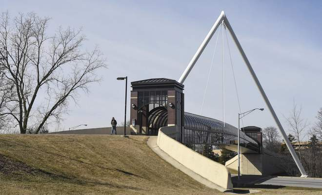 Michelle Davies   The Journal Gazette The pedestrian bridge linking the apartment complex and IPFW over Crescent Avenue.