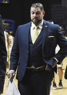 Rachel Von | The Journal Gazette  Mad Ants coach Steve Gansey during a time out during the second quarteragainst the Bayhawks at the Coliseum on Tuesday.