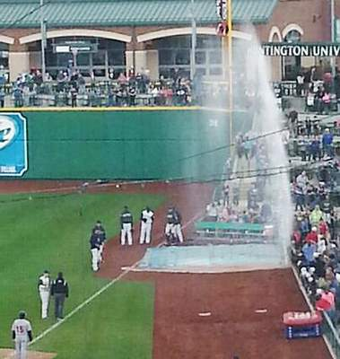 April 30, 2014: 18-minute geyser delay  As he chased a foul ball, Fernando Perez stepped on and broke a sprinkler in the right-field bullpen, shooting water nearly 20 feet into the air.