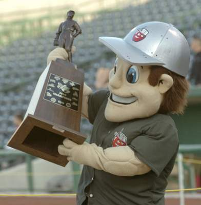 Sept. 18, 2009: Johnny TinCap with  Midwest League title trophy TinCaps capped inaugural season with  Midwest League title and  celebrated  the next night with more 2,000 fans at Parkview Field.