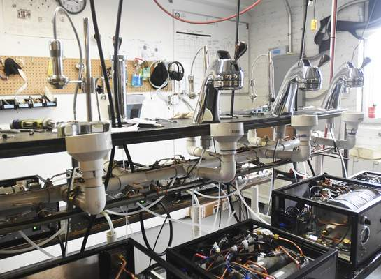 Rachel Von | The Journal Gazette Equipment waits to be tested for quality at Modbar headquarters, 628 Leesburg Road.