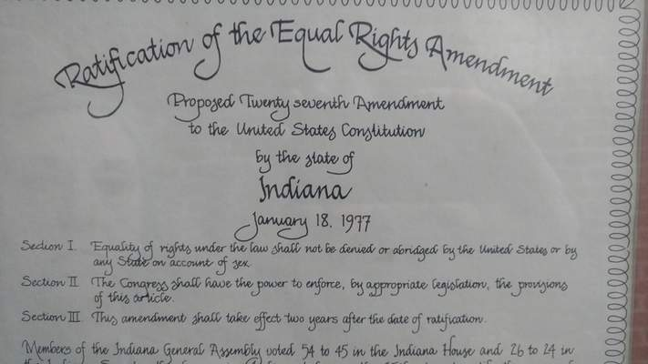 Courtesy photo The text of the proposed Equal Rights Amendment amendment to the U.S. Constitution is shown on a plaque commemorating Indiana's adoption of the language in 1977.