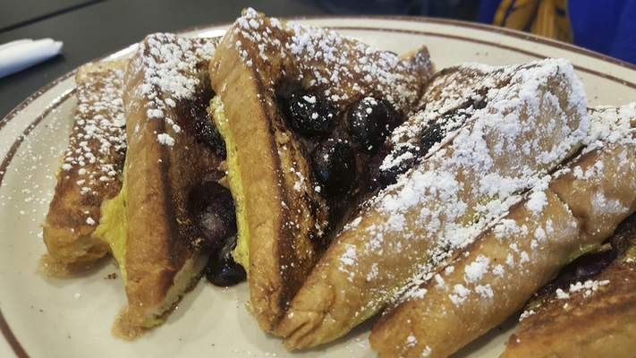 Blueberry French toast at the new Sun Rise Cafe on Coliseum Blvd.