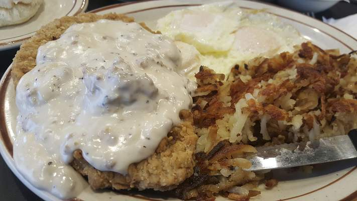 Country Fried Steak and Eggs at the new Sun Rise Cafe on Coliseum Blvd.