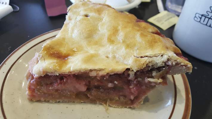 Rhubarb pie at the new Sun Rise Cafe on Coliseum Blvd.