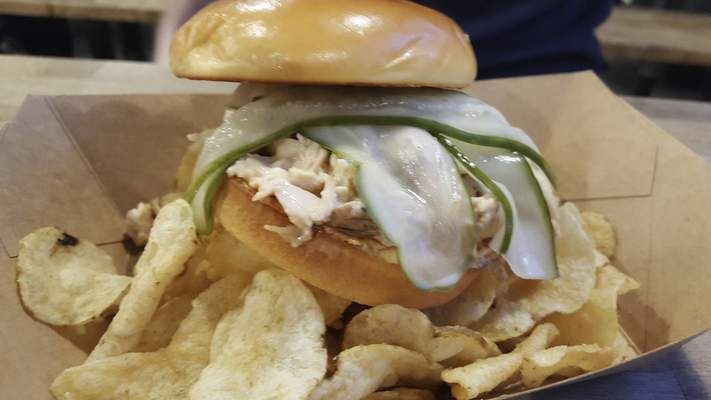 The White BBQ Chicken sandwich from Hop River Brewing Company on North Harrision Street.