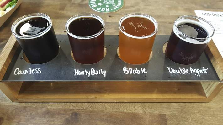 A beer flight from Hop River Brewing Company on North Harrision Street.