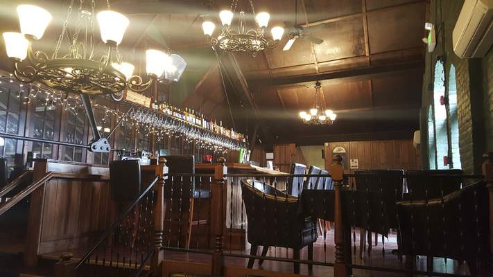 The upstairs bar at The Old Train Depot in Pierceton.