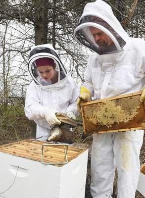 Cathie Rowand | The Journal Gazette Chris LaSalle and his daughter Samantha checks for brood activity as they look to see how welll the hive wintered.