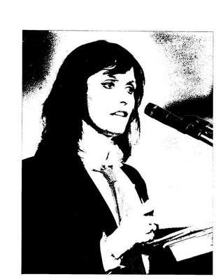 Toni Finch Kelllar | The Journal Gazette: Actress Margot Kidder makes a plea for support or Jesse Jackson on April 29, 1988, at True Love Baptist Church, 715 E. Wallace St.
