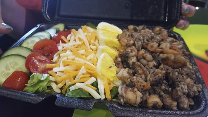 Jerk shrimp salad from Ivy's Jerk Joint on South Clinton Street.