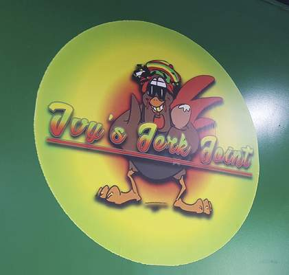 The logo of Ivy's Jerk Joint on South Clinton Street.