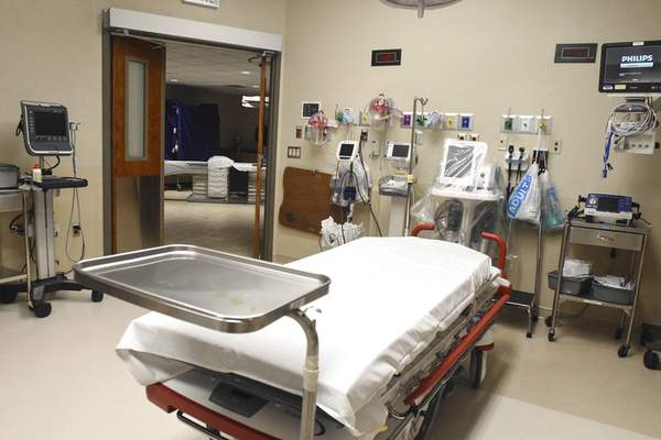 Michelle Davies   The Journal Gazette One of the trauma bays at Lutheran Hospital that opens directly into the room containing the CT Scanner, which provides a quicker diagnosis and treatment.