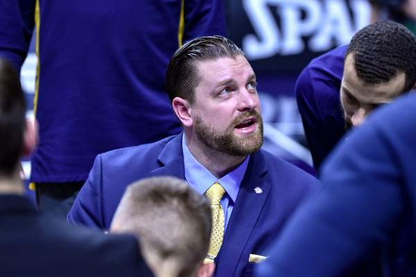 Mike Moore | The Journal Gazette: Steve Gansey, seen here coaching the Mad Ants during a December game against Greensboro, will be coaching the Indiana Pacers' Summer League team in Las Vegas this year.