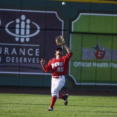 Mike Moore | The Journal Gazette TinCaps left fielder Robbie Podorsky catches a pop fly in the second inning against Bowling Green at Parkview Field on Monday.