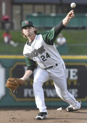 Rachel Von | The Journal Gazette  The TinCaps' Aaron Leasher pitches during the first inning against the Hot Rods at Parkview Field on Tuesday.
