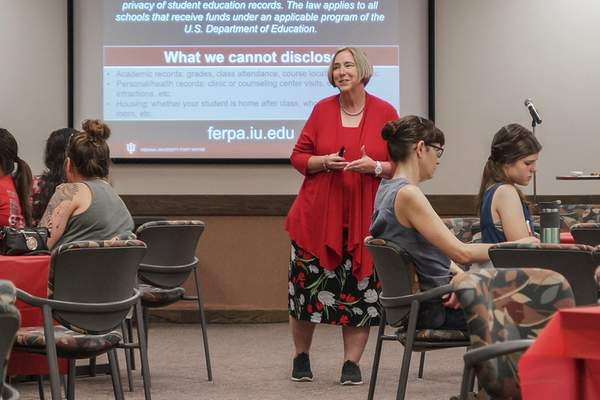 Mike Moore | The Journal Gazette  Associate Vice Chancellor of Academic Affairs and Operations at IU Fort Wayne Ann Obergfell speaks to a group of pre-nursing students and their families during orientation at Walb Student Union on June 19, 2018.