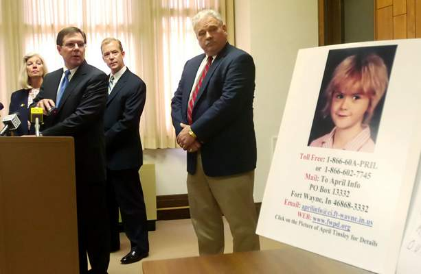 File Fort Wayne police chief Rusty York, at lectern, asked the public for information related to April Tinsley's slaying during this 2006 news conference. Looking on, from left, were Prosecutor Karen Richards, Steven Godfrey of the prosecutor's office and Allen County Sheriff Jim Herman.