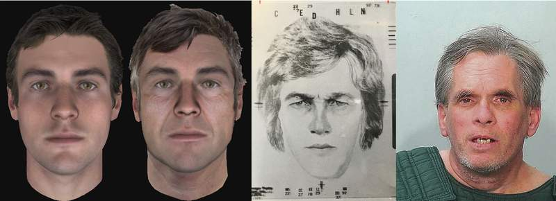 A sketch, third from right, shows what police in 1988 believed April Tinsley's killer might have looked like. That drawing was followed by renderings years later showing how the suspect might have aged. A photo of John D. Miller released Sunday is on the right. (Courtesy)