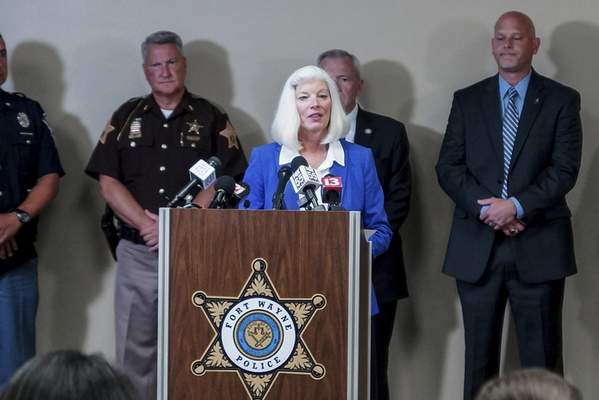 Allen County Prosecutor Karen Richards speaks at a press conference Tuesday at the Rousseau Centre. (Mike Moore | The Journal Gazette)