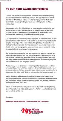 Red River Waste Solutions took out a full-page ad in Sunday's Journal Gazette apologizing for causing frustration, pledging it won't fail its contract.