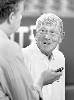 Coach Lou Holtz speaks during an interview with The Associated Press at a practice session for Saturday's Notre Dame Japan Bawl at Tokyo Dome in Tokyo Friday, July 24, 2009. Holtz is coaching a Fighting Irish legends team against Japan's national American football team and said he expects a tough game from the hosts. Their football has improved tremendously, Holtz said. They've looked at film, they understand the game...if we have an advantage it's in the lines, but they are quicker and in better shape so I'm a little worried about the second half. (AP Photo/Shizuo Kambayashi)