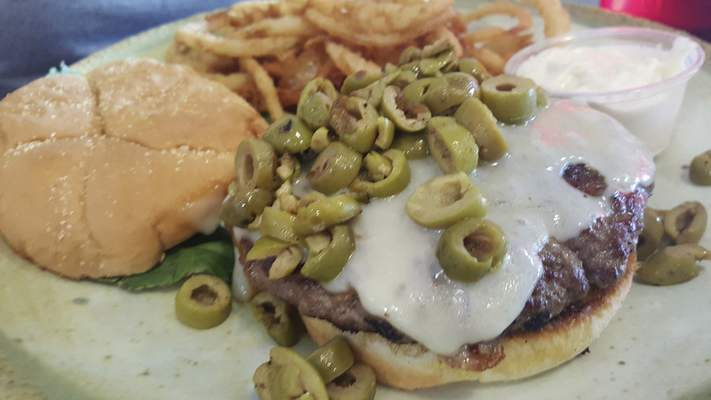 Olive burger from Monument Pizza Pub in Angola.