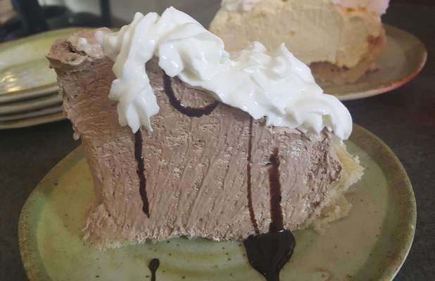 French Silk pie from Monument Pizza Pub in Angola.