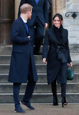 Associated Press Britain's Prince Harry and his fiancée Meghan Markle leave Cardiff Castle in Wales after a visit in January. Markle's choice of jeans drew attention to a tiny Welsh clothing maker.