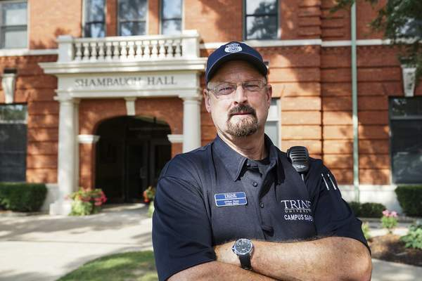 Mike Moore   The Journal Gazette Doug Stone, a part-time security officer at Trine University, was recognized as officer of the year in the non-sworn category by the National Association of Campus Safety Administrators last month in Orlando, Fla.