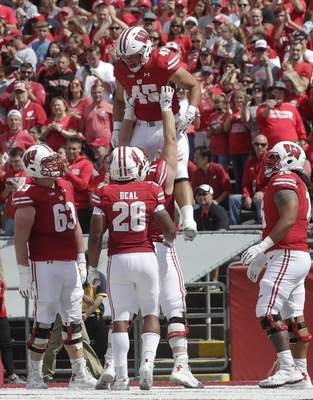Wisconsin's Alec Ingold (45) is congratulated after a touchdown run during the second half of an NCAA college football game against New Mexico Saturday, Sept. 8, 2018, in Madison, Wis. Wisconsin won 45-14. (AP Photo/Morry Gash)