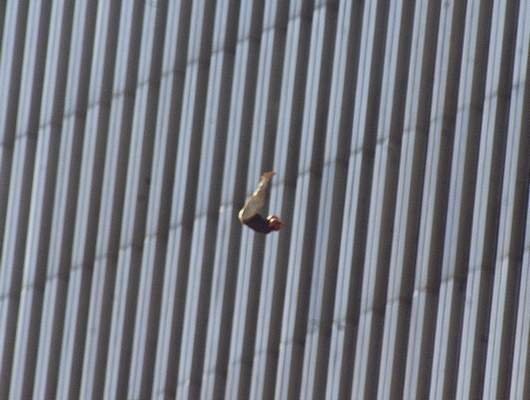 Associated Press: A person jumps from the north tower of New York's World Trade Center on Sept. 11, 2001.