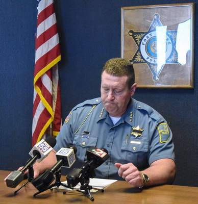 Michelle Davies | The Journal Gazette: Fort Wayne Police Chief Steve Reed pauses while addressing  the media concerning the in-line-of-duty death of Officer David A. Tinsley, who died Monday night following a pursuit.