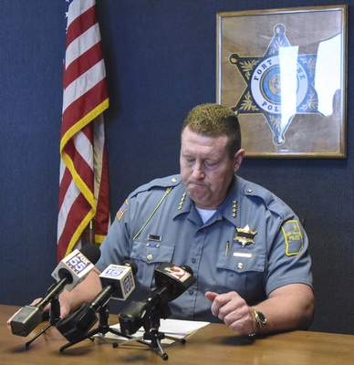 Fort Wayne Police Chief Steve Reed pauses during a news conference Tuesday discussing the on-duty death of Officer David Tinsley on Monday night.(Michelle Davies | The Journal Gazette)