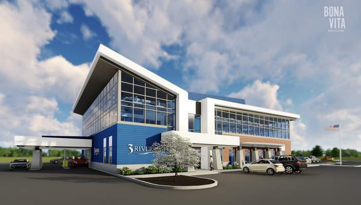 Courtesy Bona Vita Architecture This is an artist's rendering of the new 3Rivers Federal Credit Union branch in Stellhorn Crossing that opens next summer.