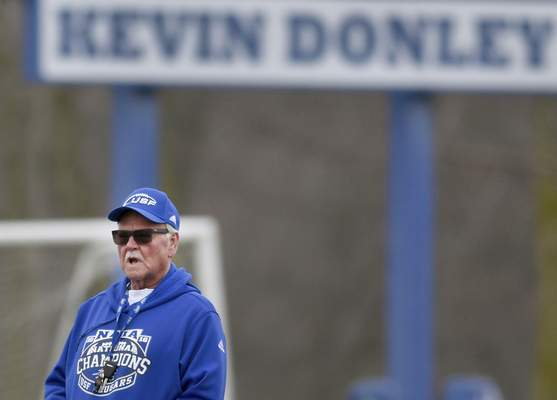 Rachel Von | The Journal Gazette Saint Francis football coach Kevin Donley notched his 319th victory Saturday, tied for eighth on the all-time wins list.