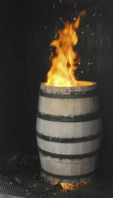 One of Lipsky's barrels is charred to a client's liking. The level of charring is what gives whiskey its color.