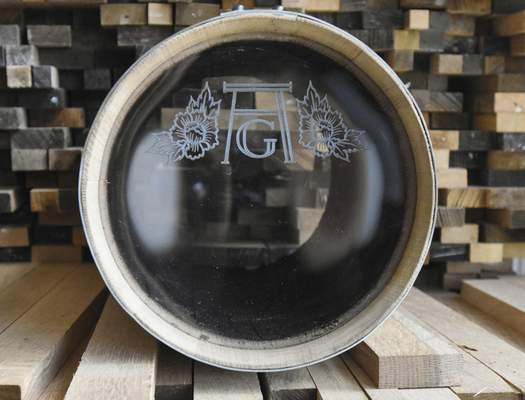 """Barrels can feature plexiglass or glass heads so the liquor inside is visible. Lipsky taught himself to build them and learned perseverance along the way. """"There was a lot of failing,"""" he says."""