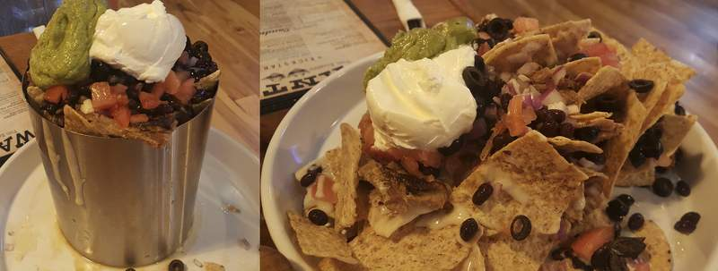 The Can Nachos before they are released by a server, left, and after, right, at Two Bandits Brewing Co. in Hicksville, Ohio.
