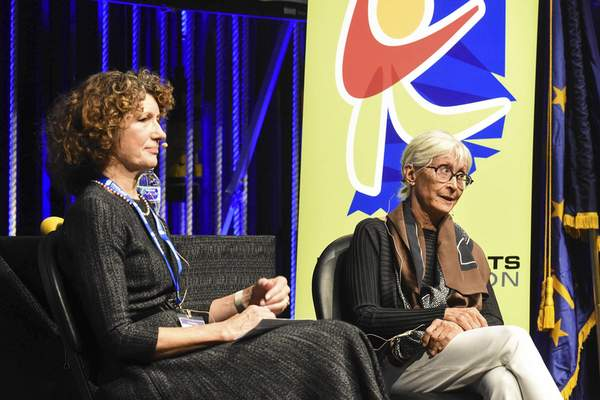 Twyla Tharp, right, participates Friday  in the Indiana Arts Homecoming Conference at Arts United Center with interviewer Laurie McRobbie. (Photos by Michelle Davies | The Journal Gazette)
