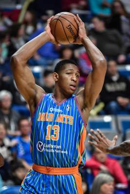 Mike Moore | The Journal Gazette: Ike Anigbogu, seen here for Fort Wayne in a March game against Delaware, has been assigned to the Mad Ants.