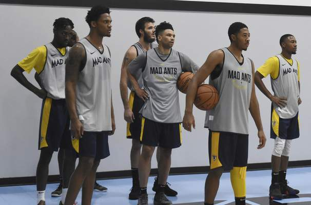 Rachel Von   The Journal Gazette  Mad Ants' players listen to instructions during the Mad Ants first practice at the ASH Centre on Monday October 22, 2018.