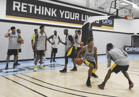 Rachel Von   The Journal Gazette  Mad Ants' players run through drills during the first practice at the ASH Centre on Monday October 22, 2018.