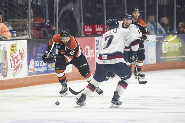 Brett Luke | The Journal Gazette  Marco Roy of the Komets makes a break for Kalamazoo's goal during the second period at the Coliseum on Saturday.
