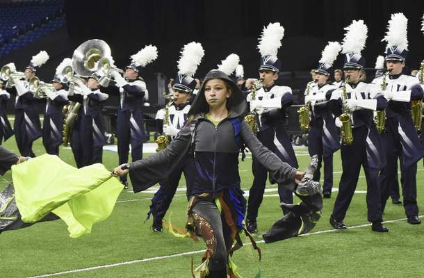 """The Spirit of Woodlan perform """"The Witching Hour""""  Saturday at Lucas Oil Stadium in Indianapolis, finishing eighth in Class D."""
