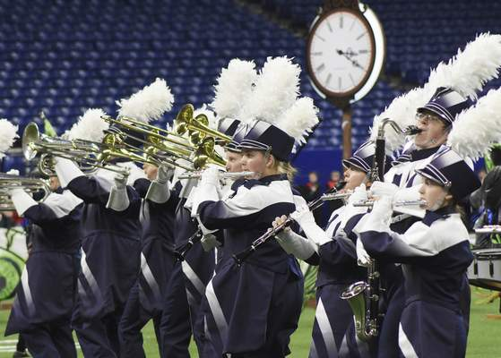 Rachel Von | The Journal Gazette  Members of the Woodlan/Woodburn marching band perform during their show titled The Witching Hour for the Class D competition at the ISSMA State Marching Band Finals at Lucas Oil Stadium in Indianapolis on Saturday.