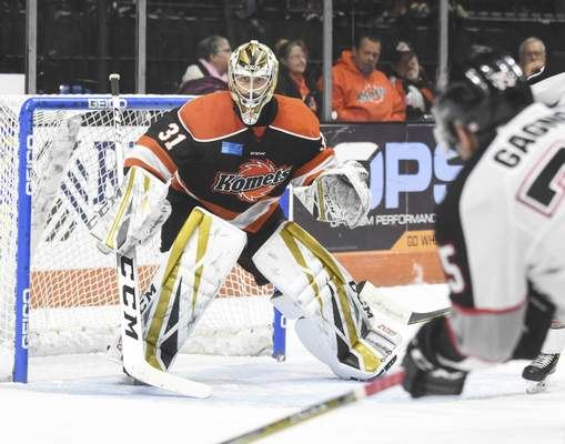 Michelle Davies   The Journal Gazette Komets' Zach Fucale keeps an eye on the play during the second period of Thursday night's game against Brampton at the Coliseum. The Komets won the Thanksgiving matchup 3-2.