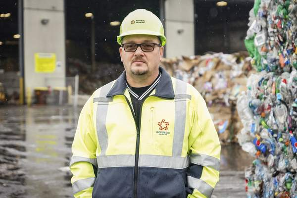 Mike Moore | The Journal Gazette Shane Stevens, Republic Services operations manager, says the influx of recyclables from East and West Coast cities has driven down prices.