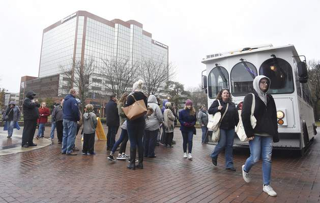 Rachel Von   The Journal Gazette  The trolley makes a stop at Arts United Center during Saturday's annual Holly Trolley Shopping downtown.